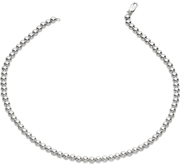 "7.5"" 925 Sterling Silver Rhodium Plated 6.0mm (1/4"") Shiny Bead Bracelet w/ Lobster Clasp."