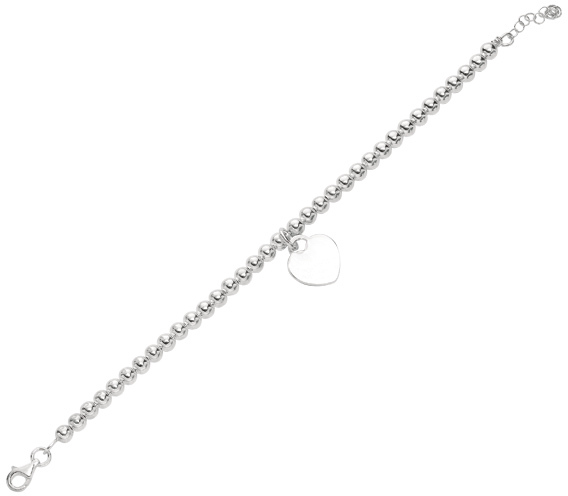 "7.5"" 925 Sterling Silver Rhodium Plated 5.2mm (1/5"") Shiny Bead Bracelet & Dangle Heart w/ Pear Shape Clasp"
