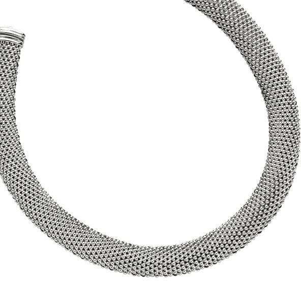"18"" Rhodium Plated 925 Sterling Silver 18mm (11/16"") Shiny Mesh Type Necklace w/ Box Catch Clasp (BTAGW116-18)"