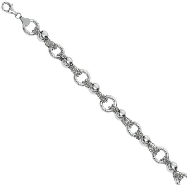 "7.5"" Rhodium Plated 925 Sterling Silver Diamond Cut Multi-strand Beaded Chain Bracelet w/ Moveable Balls"