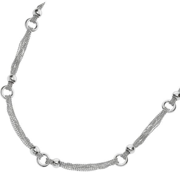 "18"" Rhodium Plated 925 Sterling Silver Diamond Cut Multi-strand Beaded Chain & Moveable Ball Fancy Necklace w/ Pear Shape Clasp"