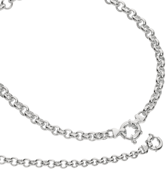 "18"" Rhodium Plated 925 Sterling Silver 8.1mm (1/3"") Shiny Rolo Like Link Necklace w/ Spring Ring Clasp"