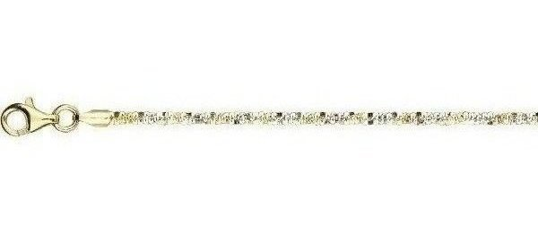 "20"" 925 Sterling Silver w/ Rhodium & Yellow Finish 2.3mm (0.09"") Diamond Cut Two Tone Sparkle Chain w/ Lobster Clasp"