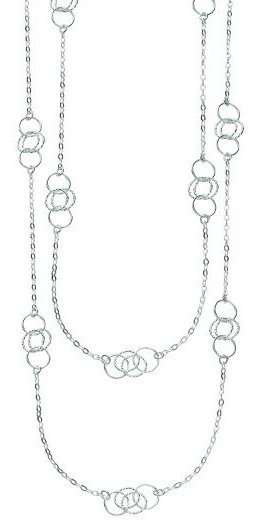"36"" 925 Sterling Silver Rhodium Plated Shiny Diamond Cut Fancy Long Length Necklace w/ Lobster Clasp. (BTAGW176-36)"