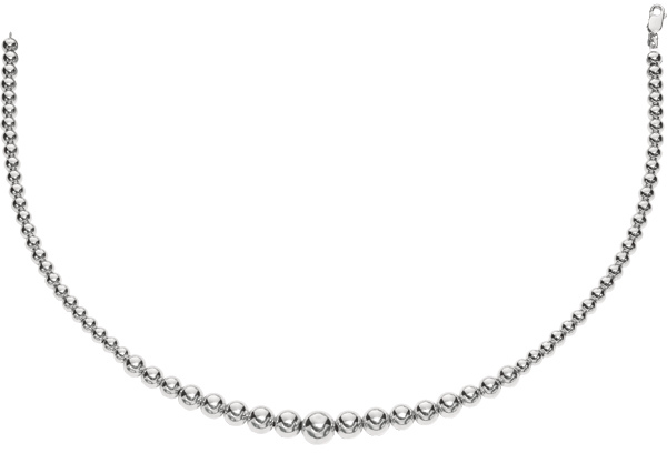 "17"" 925 Sterling Silver Rhodium Plated 5-8mm Shiny Graduated Bead Necklace w/ Lobster Clasp"