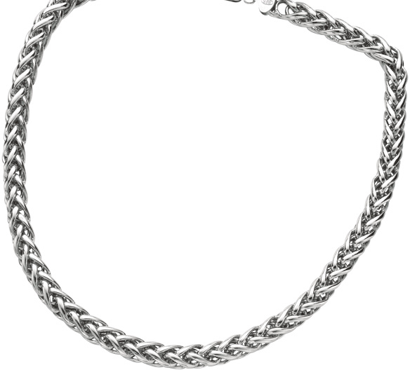 "18"" Rhodium Plated 925 Sterling Silver 8.0mm (1/3"") Shiny Diamond Cut Round Wheat Necklace w/ Lobster Clasp"