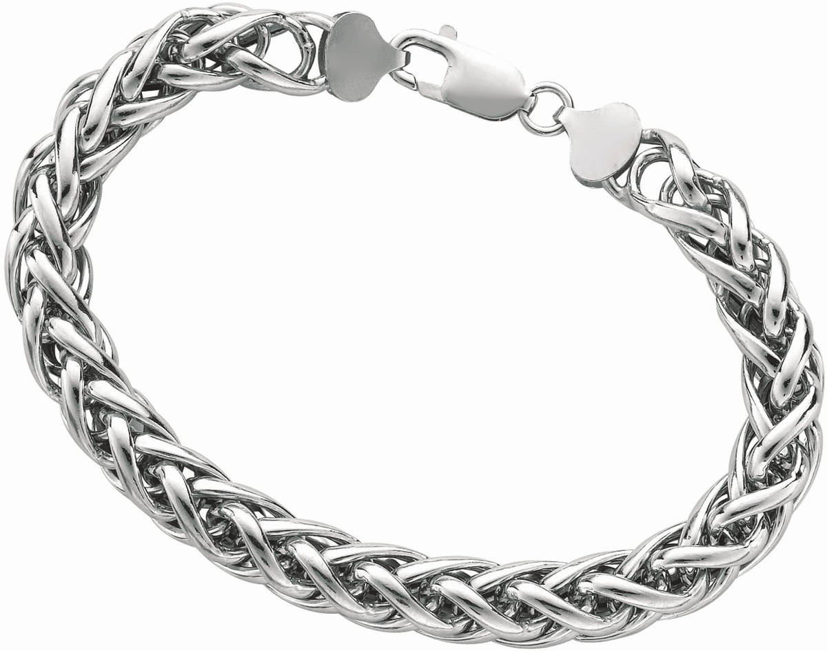 "8"" 925 Sterling Silver Rhodium Plated 8.0mm (1/3"") Shiny Diamond Cut Round Wheat Bracelet w/ Lobster Clasp"