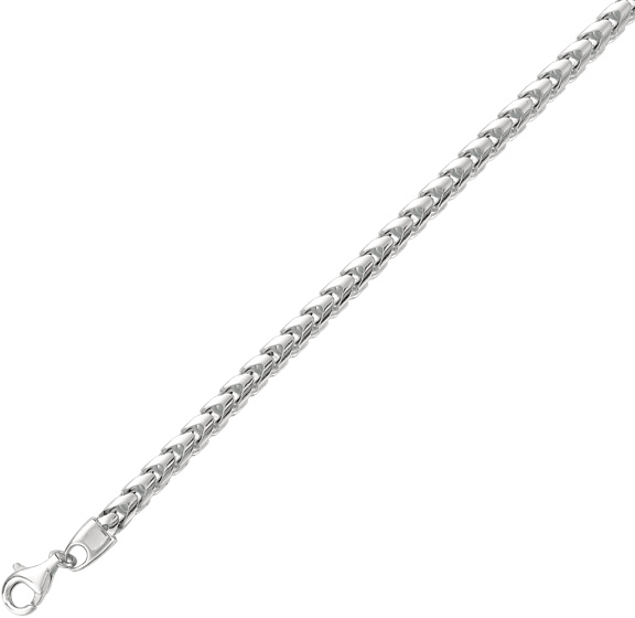 "24"" Rhodium Plated 925 Sterling Silver 4.80mm (3/16"") Shiny Square Wheat Men's Chain w/ Pear Shape Clasp"