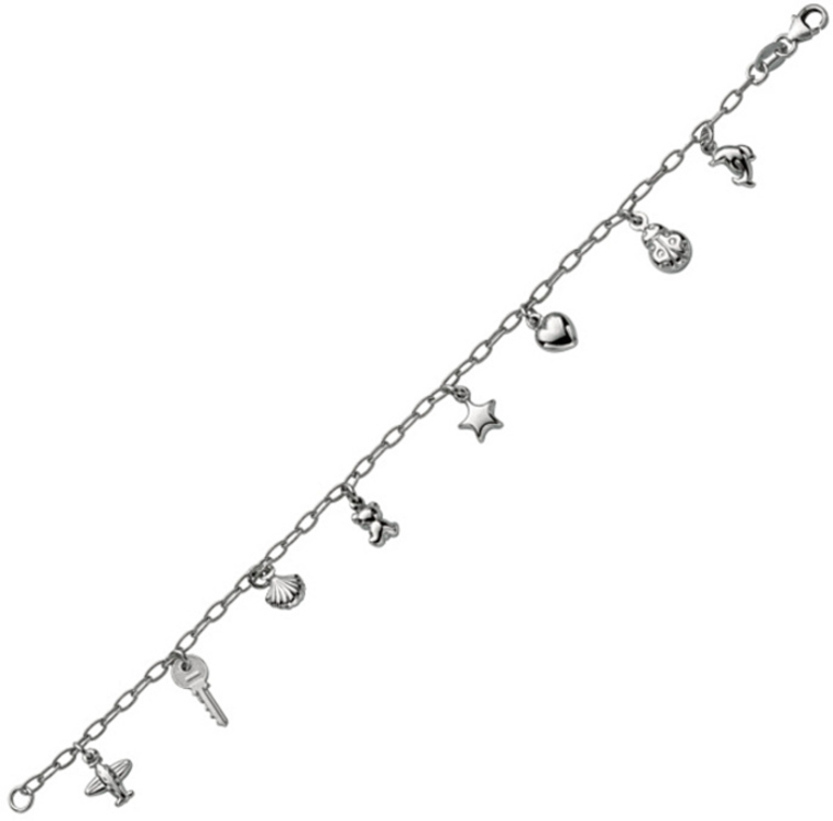 "6"" 925 Sterling Silver Rhodium Plated Shiny Oval Link Children Bracelet & Heart & Star & Shell & Dolphin & Ladybug Charm w/ Pear Shape Clasp"