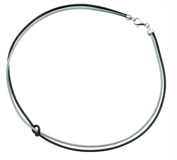 "17"" 925 Sterling Silver Rhodium & Ruthenium Plated Double Strand Two Tone Wheat Necklace & Loop w/ Pear Shape Clasp"