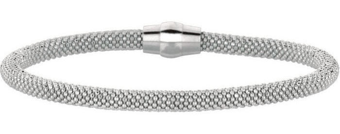 "7.5"" 925 Sterling Silver Rhodium Plated 4.8mm (3/16"") Shiny Beaded Bracelet w/ Magnetic Clasp"
