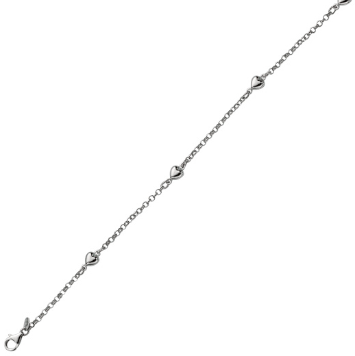 "6"" 925 Sterling Silver Rhodium Plated Shiny Rolo Chain & Station Puff Heart Children Bracelet w/ Pear Shape Clasp"