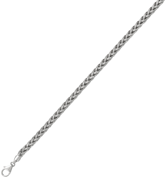"8.5"" 925 Sterling Silver Rhodium Plated 5.0mm (0.2"") Diamond Cut Round Wheat Men's Bracelet w/ Pear Shape Clasp"