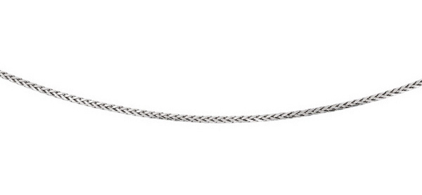 "24"" Rhodium Plated 925 Sterling Silver 5.0mm (0.2"") Diamond Cut Round Wheat Mens Chain w/ Pear Shape Clasp"