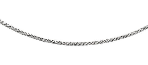 "24"" Rhodium Plated 925 Sterling Silver 3.10mm (1/8"") Diamond Cut Round Wheat Mens Chain w/ Pear Shape Clasp"