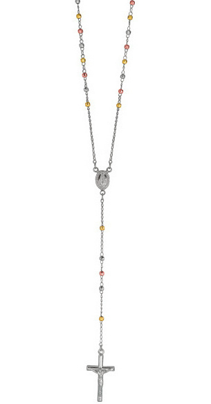 "26"" 925 Sterling Silver w/ Rhodium, Yellow & Rose Gold Plated 3mm (1/8"") Shiny Diamond Cut Rosary Bead"