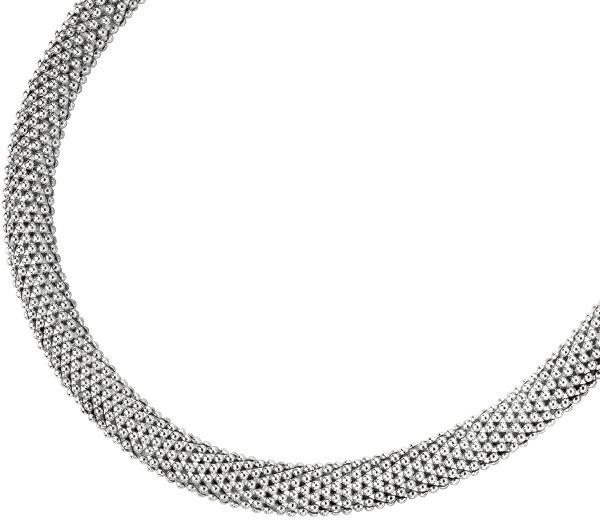 "18"" Rhodium Plated 925 Sterling Silver 18mm (11/16"") Shiny Mesh Type Necklace w/ Box Catch Clasp (BTAGW855-18)"