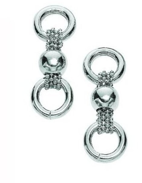 Silver Rhodium Plated Diamond Cut Moveable Ball Type Three Row Bead Link Earrings