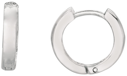 "Silver Rhodium Plated 4.0mm (1/6"") Shiny Textured Round Hoop Huggie Hoop Earrings (BTAGWE628)"