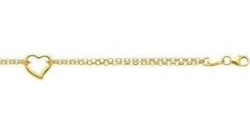 "10"" 14K Yellow Gold 1.9mm (0.07"") Polished Double Strand Rolo Chain w/ 1 Station Open Heart Adjustable Anklet w/ Pear Shape Clasp"