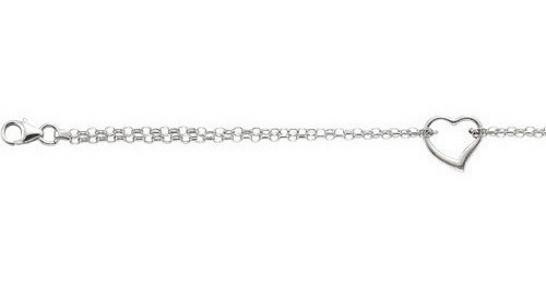 "10"" 14K White Gold 1.9mm (0.07"") Polished Double Strand Rolo Chain w/ 1 Station Open Heart Anklet w/ Pear Shape Clasp"