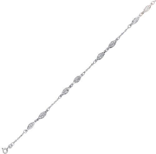 "10"" 14K White Gold 1.75mm (0.07"") Cable Chain Link w/ Markee Shape Filigree Anklet w/ Spring Ring Clasp"