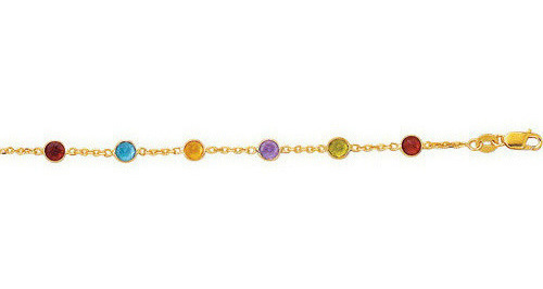 "10"" 14K Yellow Gold 1.1mm (0.04"") Cable Chain Link Anklet w/ Alternate Round Faceted 5 Color Stone w/ Lobster Clasp"
