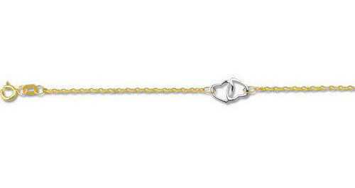 "10"" 14K Yellow & White Gold 1.4mm (0.06"") Cable Chain Link w/ 2 Station White Inter Twine Open Heart Link Adjustable Anklet w/ Spring Ring Clasp"