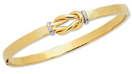 "7"" 14K Yellow & White Gold 4.75mm (3/16"") Polished Flat Tube & Bow Like Top Fancy Bangle Bracelet w/ Clasp"