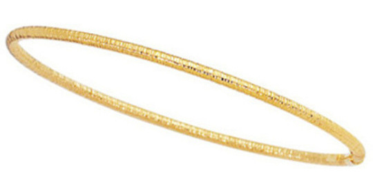 "8"" 14K Yellow Gold 3.0mm (1/8"") Textured Round Tube Stackable Bangle Bracelet"