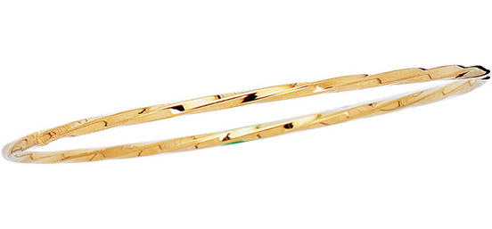 "8"" 14K Yellow Gold 2.50mm (1/10"") Polished Round Twisted Round Tube Stackable Bangle Bracelet"