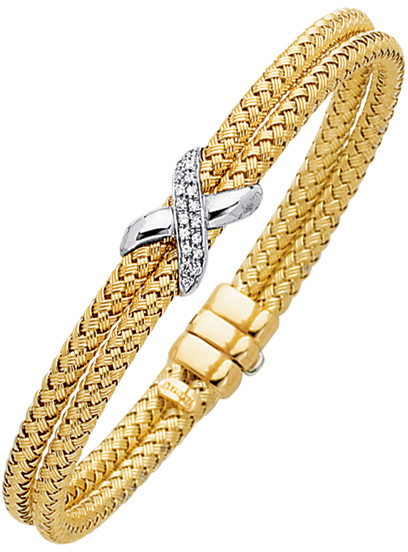 "7.25"" 14K Yellow & White Gold 7.2mm (2/7"") Round Tube Double Basket Weaved Diamond Accent w/ 0.18ct Diamond Fancy Bangle Bracelet w/ Fancy Clasp"