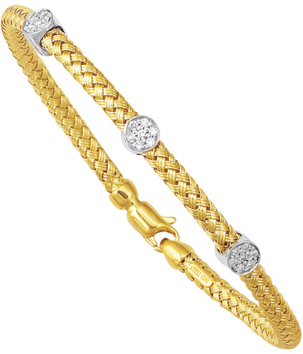 "7.25"" 14K Yellow & White Gold 5.0mm (1/5"") Round Tube Basket Weaved Diamond Accent w/ 0.24ct Diamond Fancy Bangle Bracelet w/ Fancy Clasp"
