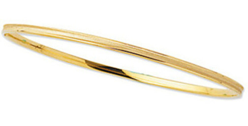 "8"" 14K Yellow Gold 3.15mm (1/8"") Round Square Tube w/ Texture Top Stackable Bangle Bracelet"