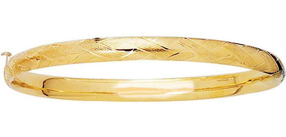 "14K 5.5mm (2/9"") Yellow Gold Shiny Diamond Cut Florentine Bangle Bracelet w/ Clasp"