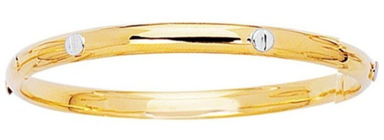 "5.5"" 14K Yellow Gold 4.2mm (1/6"") Polish Domed Round Tube w/ White Nail Head Children Bangle Bracelet w/ Clasp"