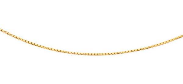 "18"" 14K Yellow Gold 0.8mm (0.03"") Polished Classic Box Chain w/ Lobster Clasp"