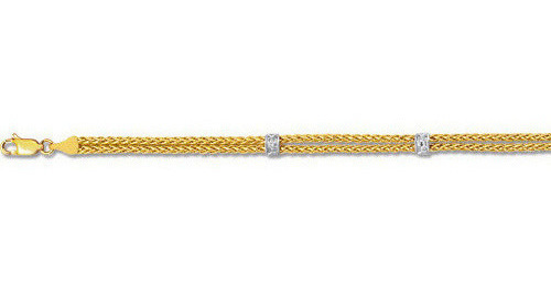 "7.25"" 14K Yellow & White Gold 3.75mm (1/7"") Double Strand Round Wheat Chain Link w/ .03ct Diamond Bracelet w/ Lobster Clasp"