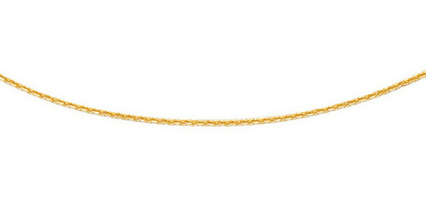 "16"" 14K Yellow Gold 1.1mm (0.04"") Polished Diamond Cut Cable Link Chain w/ Spring Ring Clasp"