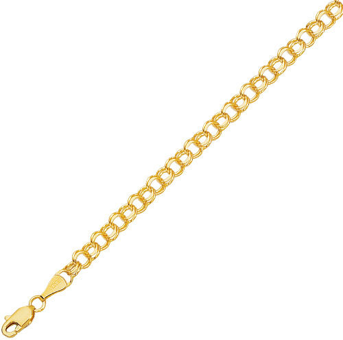 "8"" 14K Yellow Gold Diamond Cut Double Link Charm Bracelet w/ Lobster Clasp"