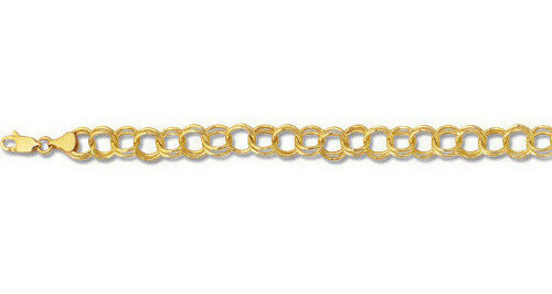 "7"" 14K Yellow Gold Narrow Polished Diamond Cut Double Link Charm Bracelet w/ Lobster Clasp"