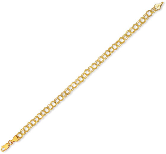 "7.25"" 14K Yellow Gold Delicate Polished Diamond Cut Lite Charm Bracelet w/ Lobster Clasp"