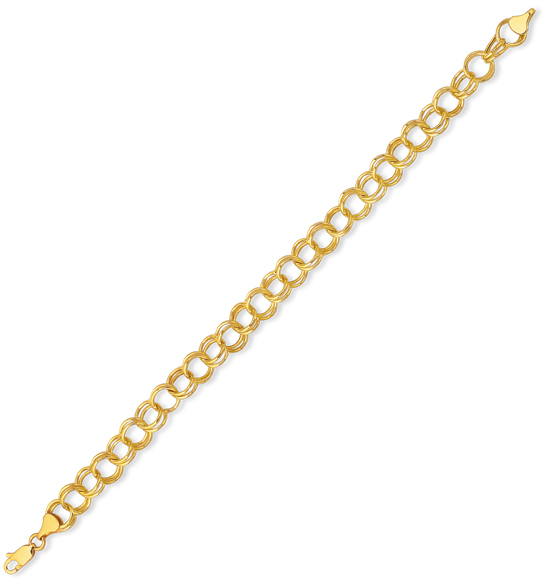 "7.25"" 14K Yellow Gold Classic Polished Diamond Cut Lite Charm Bracelet w/ Lobster Clasp"