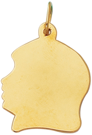 14K Yellow Gold Shiny Girl Head Charm (BTCH302)