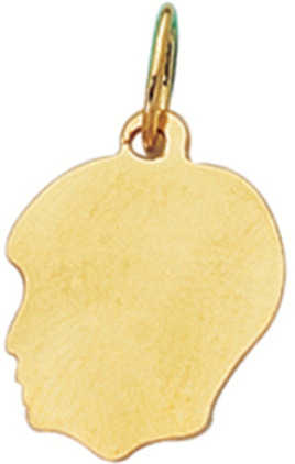 14K Yellow Gold Shiny Boy Head Charm (BTCH303)