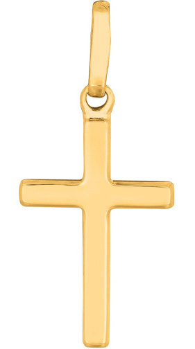 14K Yellow Gold All Shiny Small Cross Pendant (BTCH818)
