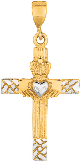 14K Yellow & White Gold Shiny Diamond Cut Claddagh Cross Pendant