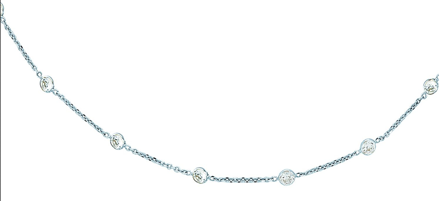 "18"" 14K White Gold 1.50mm (0.06"") Cable Link Chain w/ 17 Round Faceted Clear Cubic Zirconia (CZ) Necklace w/ Lobster Clasp"