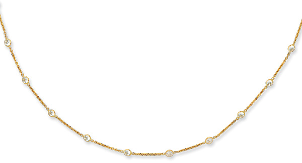 "18"" 14K Yellow Gold 1.50mm (0.06"") Cable Link Chain w/ 17 Round Faceted Clear Cubic Zirconia (CZ) Necklace w/ Lobster Clasp"