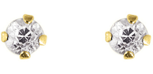 "14K Yellow Gold Shiny 4.0mm (1/6"") Round Faceted White Cubic Zirconia (CZ) Stud Earrings"